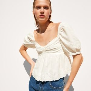 NWT Zara Knotted Embroidered Top